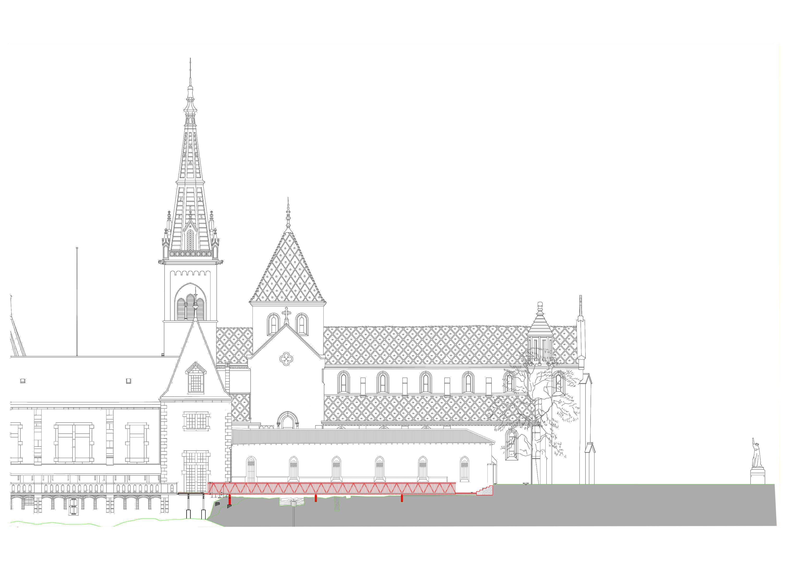 PROLONGEMENT D'UNE PASSERELLE, COLLÉGIALE DE NEUCHÂTEL (NE)